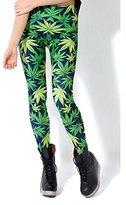 HuntGold Woen's Hiphop Style Weed Luckyaple Leaf Pattern Printing Leggings Pantyhose Pants Sockings