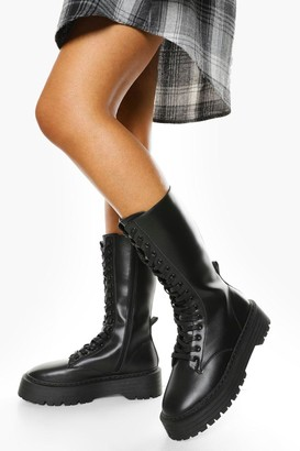 boohoo Wide Fit Lace Front Chunky Knee High Hiker Boots