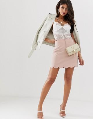 Asos Design DESIGN tailored a-line mini skirt with scallop hem-Pink