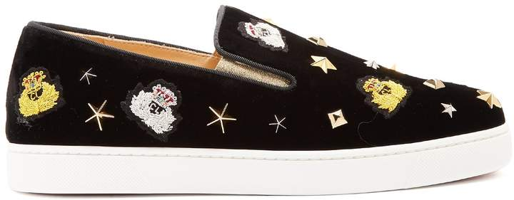 Christian Louboutin Miss Academy crest-embroidered velvet trainers