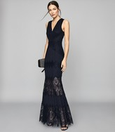 Reiss Adala - Lace Detailed Maxi Dress in Navy