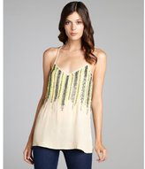 Romeo & Juliet Couture Beige and green bead-embellished woven tank