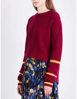 LK Bennett x Preen Annika stepped-hem wool and cashmere-blend jumper