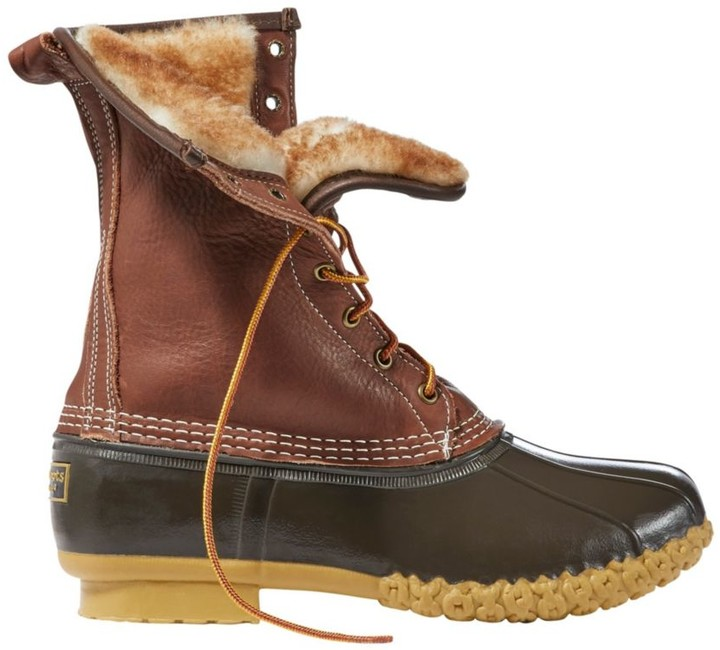 """L.L. Bean Men's Bean Boots by L.L.BeanA, 10"""" Tumbled-Leather Shearling-Lined"""