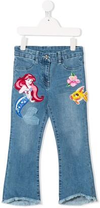 MonnaLisa Little Mermaid embroidered jeans
