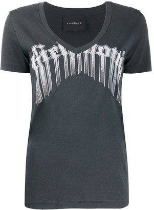 John Richmond v-neck logo printed T-shirt
