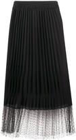 RED Valentino point d'esprit pleated midi-skirt