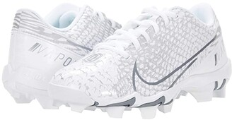 Nike Kids Vapor Edge Shark BG OBJ Football (Toddler/Little Kid/Big Kid) (White/White/Pure Platinum/Metallic Gold) Kid's Shoes
