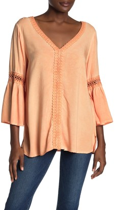 Spense Washed Bell Sleeve Lace Detail Blouse