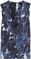 Norma Kamali Open-back Printed Stretch-jersey Hooded Top - Royal blue
