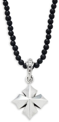 King Baby Studio Sterling Silver Onyx Bead Cross Pendant Necklace