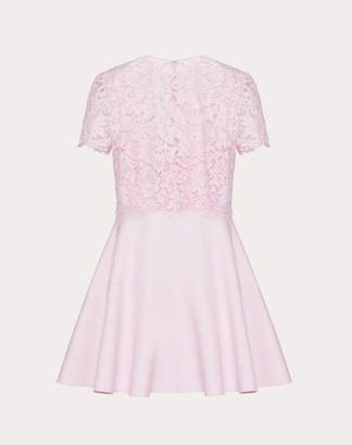 Valentino Crepe Couture And Heavy Lace Dress Women Pink Virgin Wool 65%, Silk 35% 40