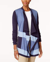 Karen Scott Colorblocked Cascade Cardigan, Created for Macy's