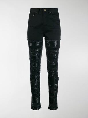 Saint Laurent Sequin-Embellished Ripped Skinny Jeans