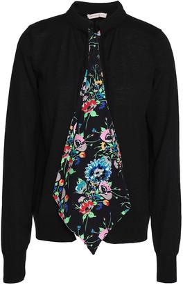 Christopher Kane Crystal-embellished Floral-print Appliqued Wool Cardigan