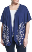 Johnny Was Embroidered Draped Open Cardigan, Navy