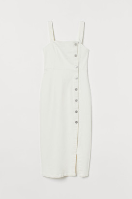 H&M Fitted Twill Dress - White