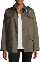 RED Valentino Gabardine Utility Jacket w/ Embroidery