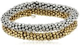 """Kenneth Cole New York """"Beaded Bracelets"""" Silver and Gold Seed Bead Stretch Bracelet Set"""