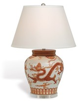 The Well Appointed House Mandarin Spice Dragon Porcelain Lamp with Shade