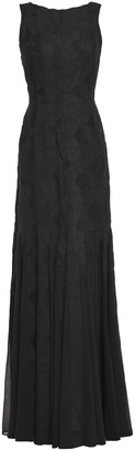 Halston Georgette-paneled Jacquard Gown