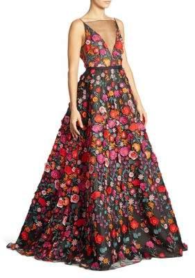 Lela Rose Floral Illusion Gown