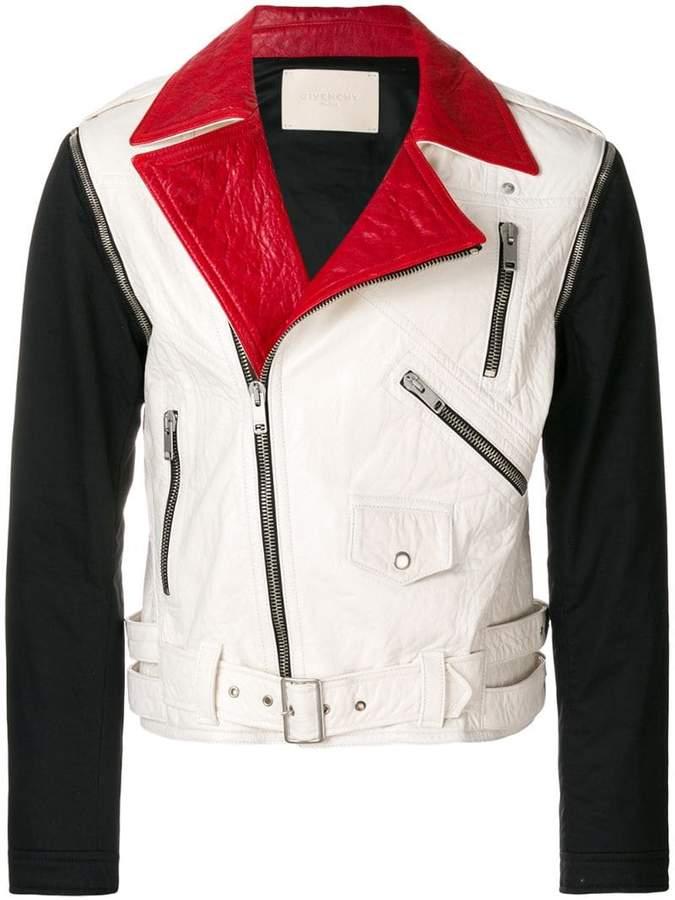 Givenchy colour block biker jacket