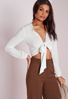 Missguided Tie Front Cropped Blouse White