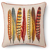 """Threshold Red/Yellow Multi Feathers Throw Pillow (18""""X18"""