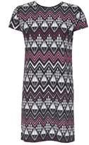 Select Fashion Fashion Womens Black Aztec Crepe T-Shirt Dress - size 6