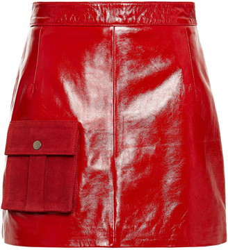 Muu Baa Muubaa Suede-trimmed Crinkled Glossed-leather Mini Skirt