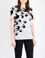 McQ by Alexander McQueen Swallow-print cotton-jersey t-shirt