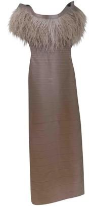 Herve Leger Ecru Ostrich Dress for Women