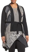 Nic+Zoe Plus Size Women's Pyramid Twirl Belted Knit Jacket