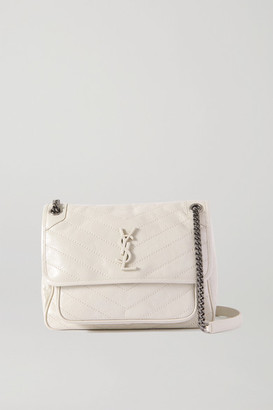 Saint Laurent Niki Medium Quilted Crinkled Glossed-leather Shoulder Bag - Off-white
