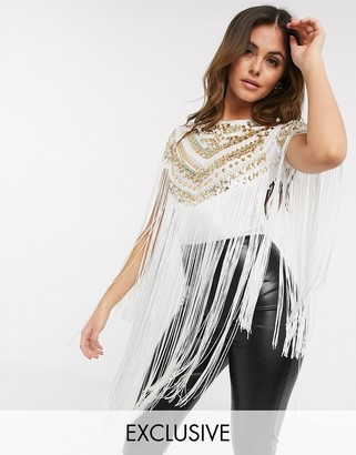A Star Is Born exclusive embellished fringe bodysuit in white and gold sequin