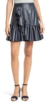 Rebecca Taylor Women's Faux Leather Ruffle Skirt