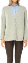 Max Studio Wool & Cashmere Tweed Chunky Knit Cardigan Sweater