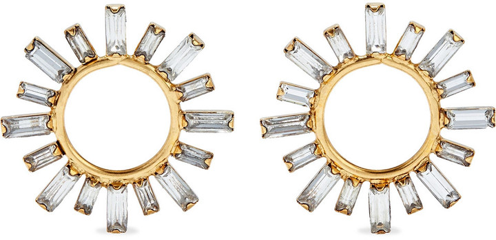 Elizabeth Cole Portia 24-karat Gold-plated Swarovski Crystal Earrings