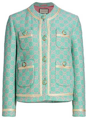 Gucci Macro GG Contrast Trim Tweed Jacket