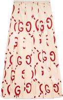 Gucci Cities print silk skirt