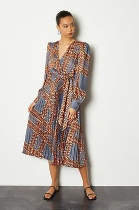 Karen Millen 70s Check Pleat Midi Dress