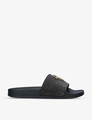 Giuseppe Zanotti Logo-embellished croc-embossed patent-leather sliders