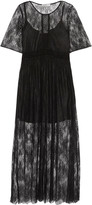 Sandro Pointelle-trimmed chantilly lace midi dress