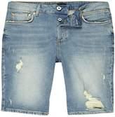 River Island Mens Light Blue distressed skinny fit denim shorts