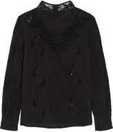 Sea Crochet-trimmed cotton top