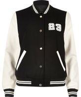 River Island Womens Black and white varsity bomber jacket
