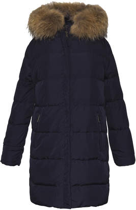 Gerard Darel Medium Long Paulie Puffer Coat With Fur Collar