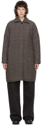 YMC Brown Wool Check Cocoon Coat