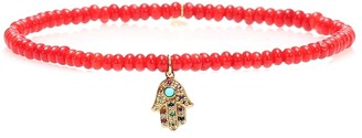 Sydney Evan Baby Hamsa Rainbow bamboo coral and 14kt gold beaded bracelet with sapphires